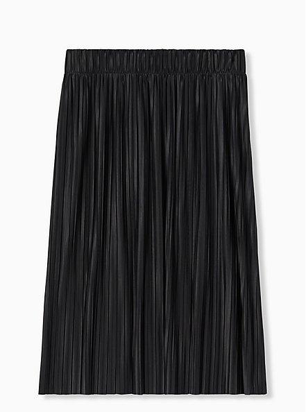 Black Accordion Pleated Midi Skirt, , alternate