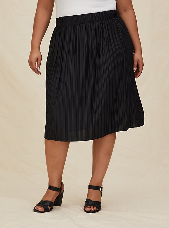 Black Accordion Pleated Midi Skirt, , hi-res