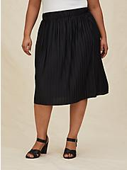 Black Accordion Pleated Midi Skirt, , hi-res