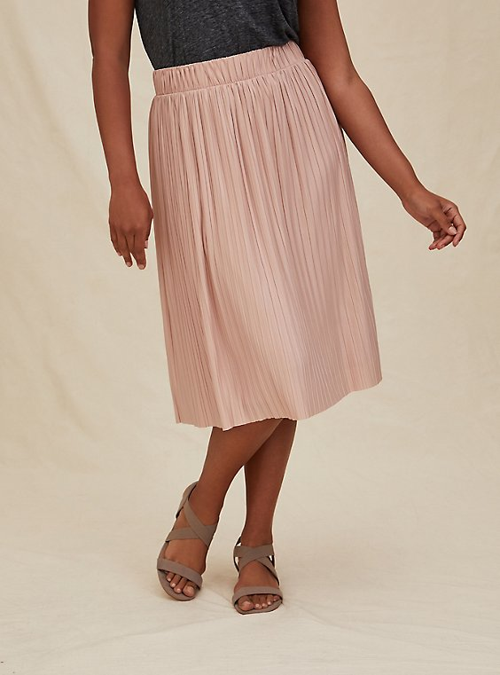 Pale Pink Accordion Pleated Midi Skirt, , hi-res