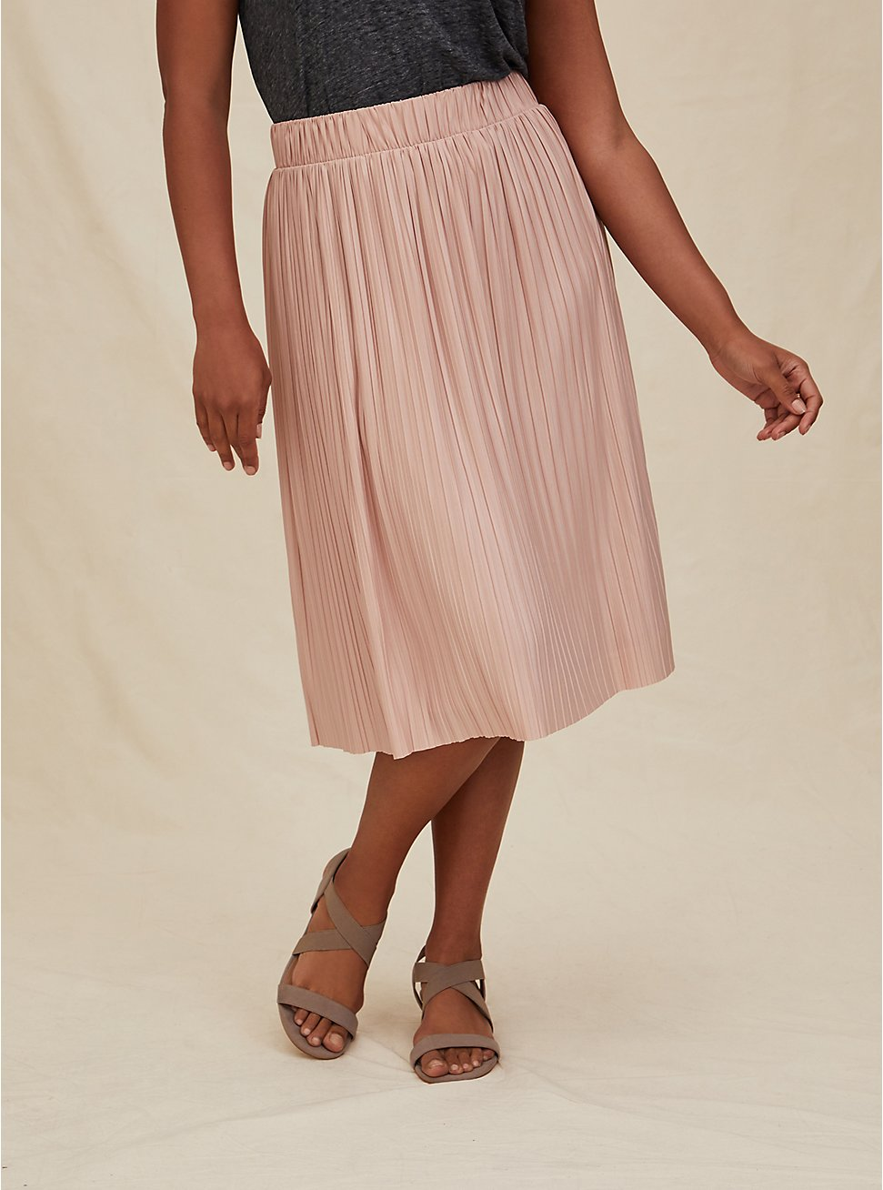 Pale Pink Accordion Pleated Midi Skirt, ROSE DUST, hi-res