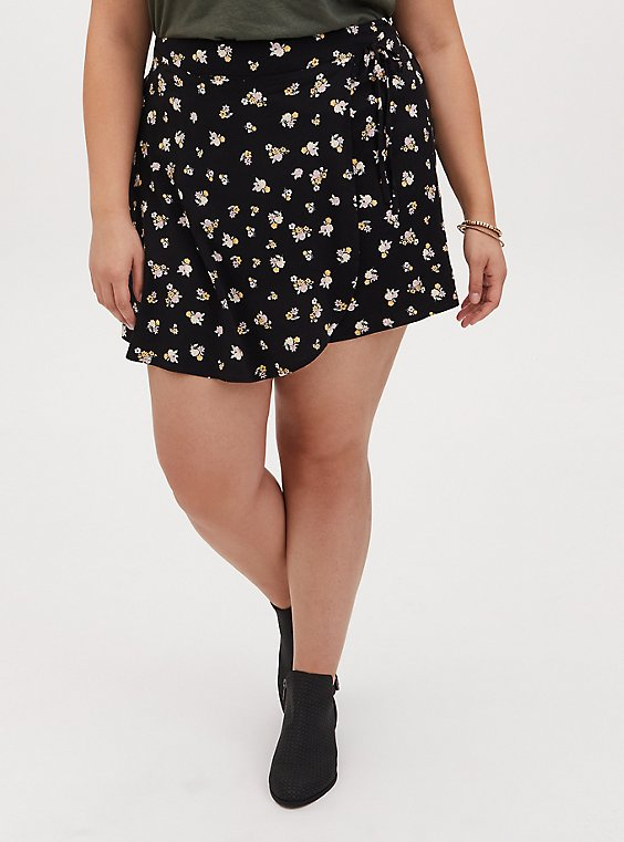 Black Ditsy Floral Challis Skort , , hi-res