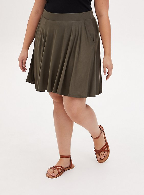Super Soft Olive Green Mini Skater Skirt , , hi-res