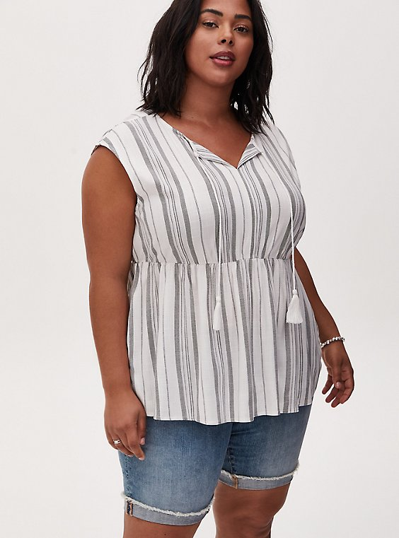 White & Grey Stripe Stretch Woven Dolman Peplum Top, STRIPE - WHITE, hi-res