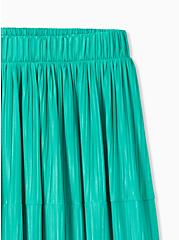 Turquoise Accordion Pleated Tiered Tea Length Skirt, DYNASTY GREEN, alternate