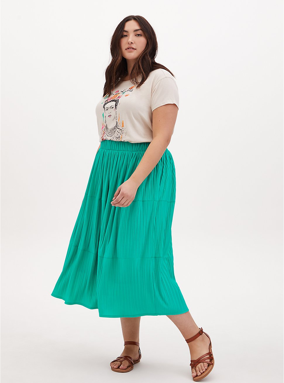 Turquoise Accordion Pleated Tiered Tea Length Skirt, DYNASTY GREEN, hi-res