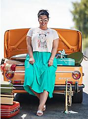 Plus Size Turquoise Accordion Pleated Tiered Tea Length Skirt, DYNASTY GREEN, hi-res