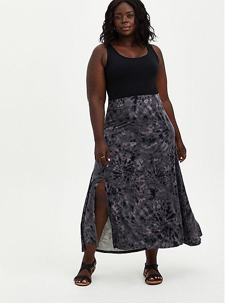 Black Tie-Dye Jersey Side Slit Maxi Skirt, TIE DYE, alternate