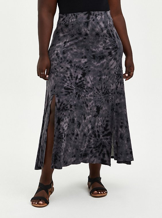 Plus Size Black Tie-Dye Jersey Side Slit Maxi Skirt, , hi-res