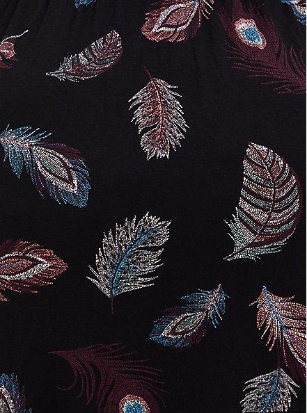 Super Soft Black Feather Shirred Hem Midi Dress, FEATHERS-BLACK, alternate