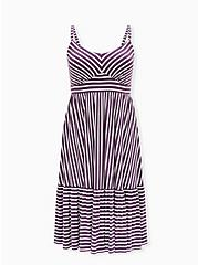 Super Soft Vintage Purple Stripe Shirred Hem Midi Dress, STRIPE - PURPLE, hi-res