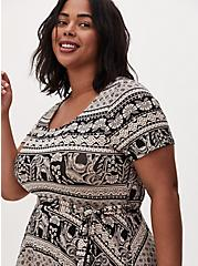 Plus Size Black Stripe Elephant Print Jersey Tie Front Skater Dress, GEO - BLACK, alternate