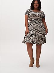 Black Stripe Elephant Print Jersey Tie Front Skater Dress, GEO - BLACK, alternate