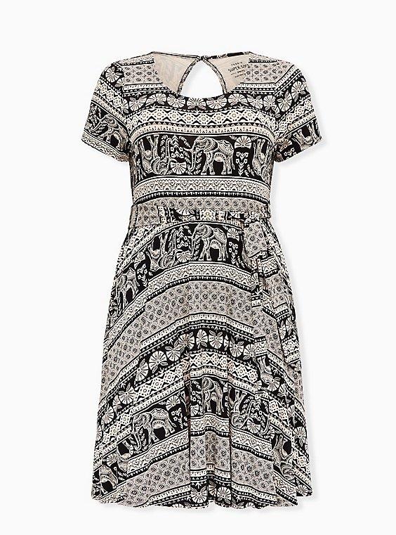 Black Stripe Elephant Print Jersey Tie Front Skater Dress, , flat
