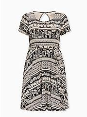 Black Stripe Elephant Print Jersey Tie Front Skater Dress, GEO - BLACK, hi-res