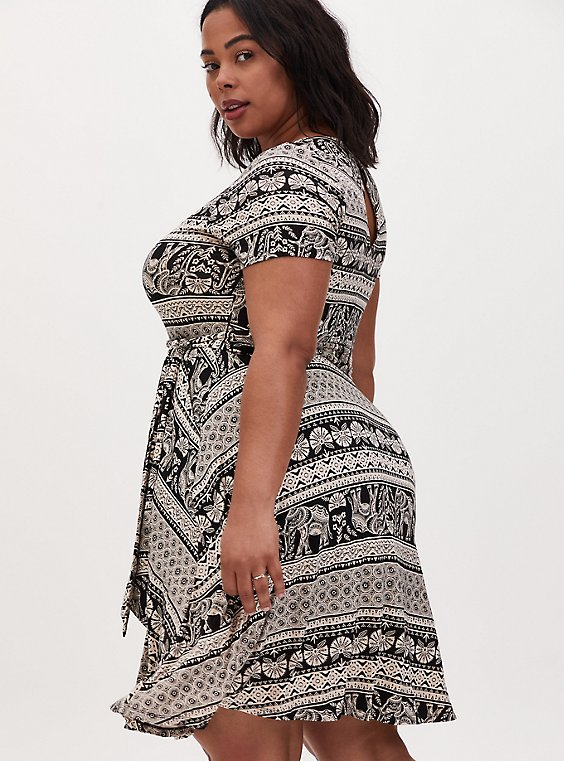 Plus Size Black Stripe Elephant Print Jersey Tie Front Skater Dress, , hi-res
