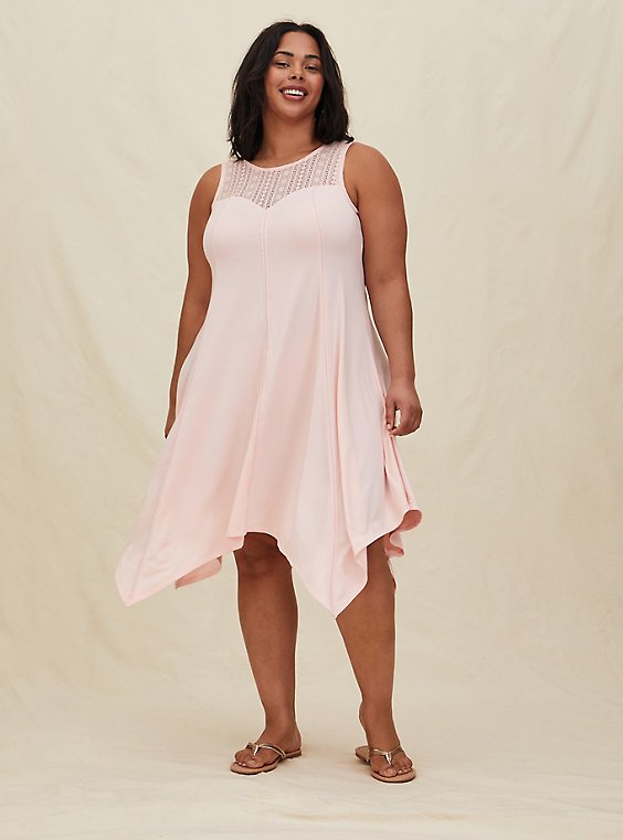 Plus Size Peach Pink Jersey Lace Yoke Handkerchief Fluted Dress, , hi-res