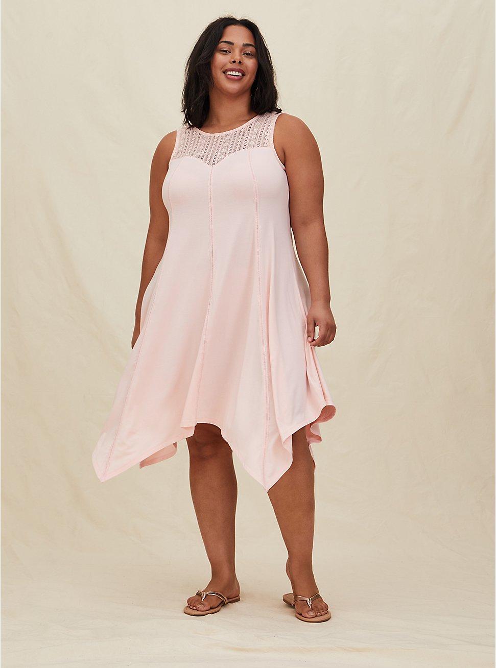 Peach Pink Jersey Lace Yoke Handkerchief Fluted Dress, GOSSAMER PINK, hi-res