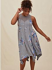 Grey Floral Jersey Handkerchief Fluted Dress, FLORAL - GREY, alternate