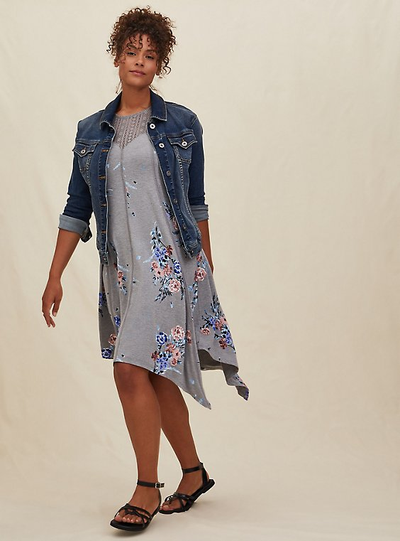 Grey Floral Jersey Handkerchief Fluted Dress, , hi-res