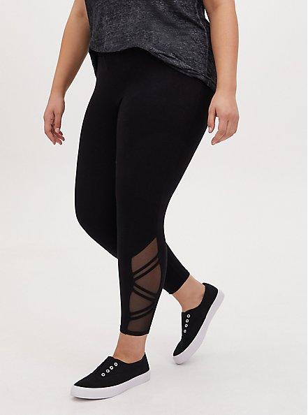 Plus Size Crop Premium Legging - Strappy Angled Mesh Inset Black, BLACK, alternate