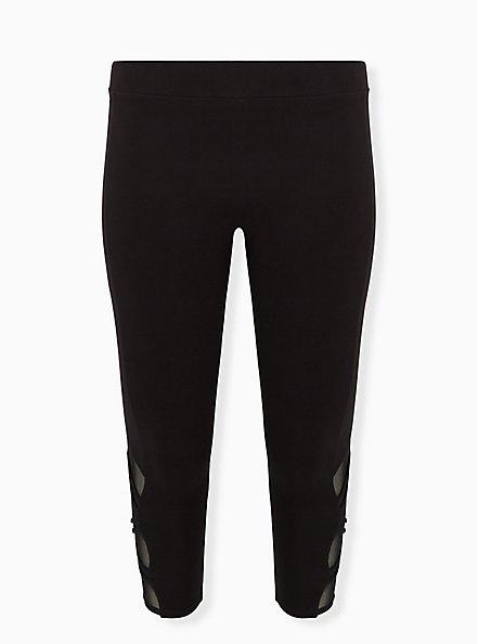 Plus Size Crop Premium Legging - Strappy Angled Mesh Inset Black, BLACK, hi-res