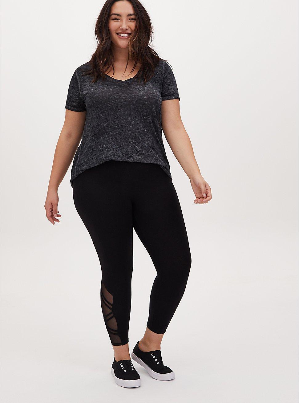 Crop Premium Legging - Strappy Angled Mesh Inset Black, BLACK, hi-res