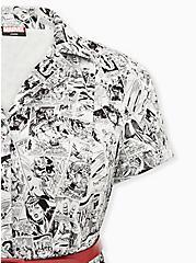 Marvel Comic Print Black & White Belted Swing Dress, MULTI, alternate