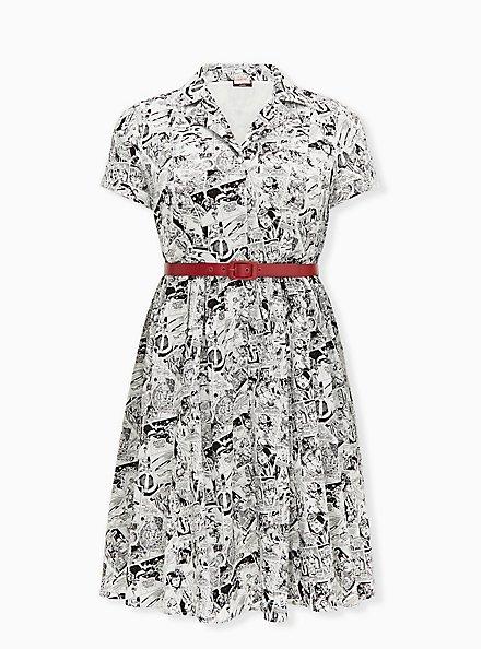 Marvel Comic Print Black & White Belted Swing Dress, MULTI, hi-res