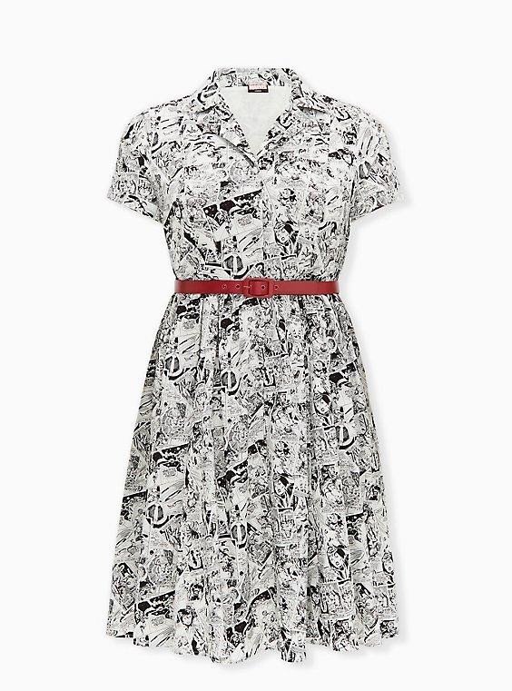 Marvel Comic Print Black & White Belted Swing Dress, , hi-res