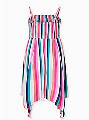 Multi Stripe Gauze Strapless Handkerchief Midi Dress, STRIPE - MULTI, alternate