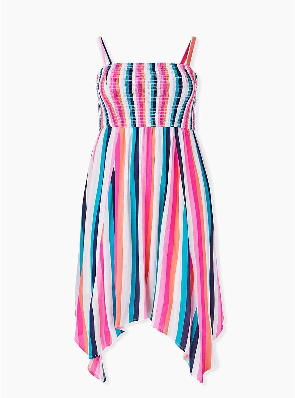 Multi Stripe Gauze Strapless Handkerchief Midi Dress, STRIPE - MULTI, hi-res