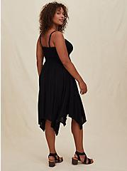 Black Gauze Smocked Handkerchief Midi Dress, DEEP BLACK, alternate
