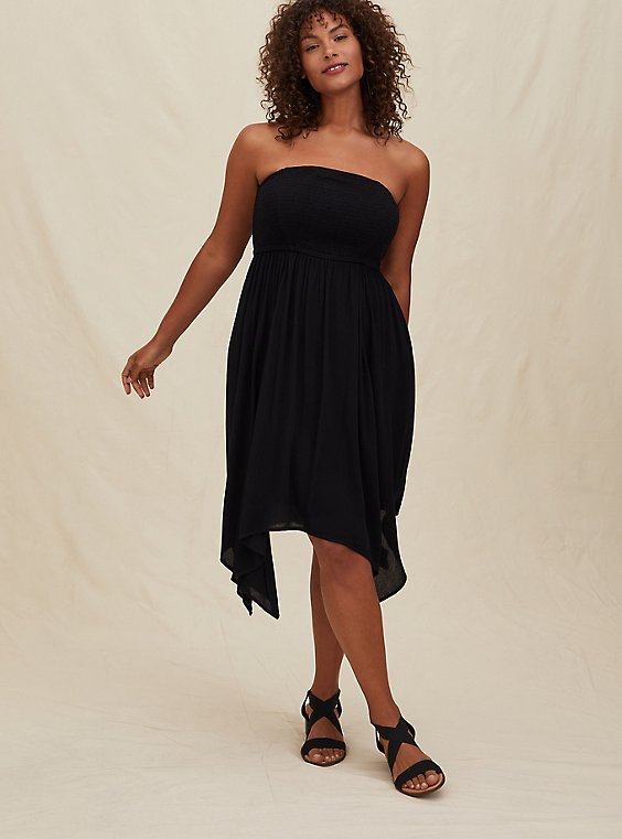 Plus Size Black Gauze Smocked Handkerchief Midi Dress, , hi-res