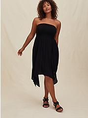 Black Gauze Smocked Handkerchief Midi Dress, DEEP BLACK, hi-res