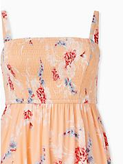 Peach Floral Gauze Strapless Handkerchief Midi Dress, FLORAL - PEACH, alternate