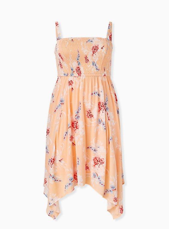 Peach Floral Gauze Strapless Handkerchief Midi Dress, , hi-res