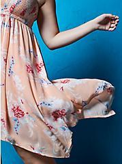 Peach Floral Gauze Strapless Handkerchief Midi Dress, FLORAL - PEACH, hi-res