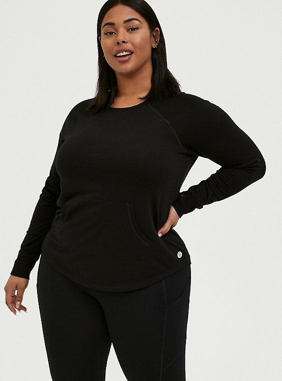 Plus Size Black Crew Neck Active Sweatshirt, , hi-res
