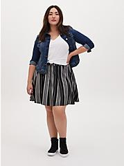 Black Stripe Twill Pleated Mini Skater Skirt , STRIPE-BLACK WHITE, alternate