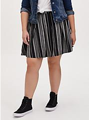 Black Stripe Twill Pleated Mini Skater Skirt , STRIPE-BLACK WHITE, hi-res