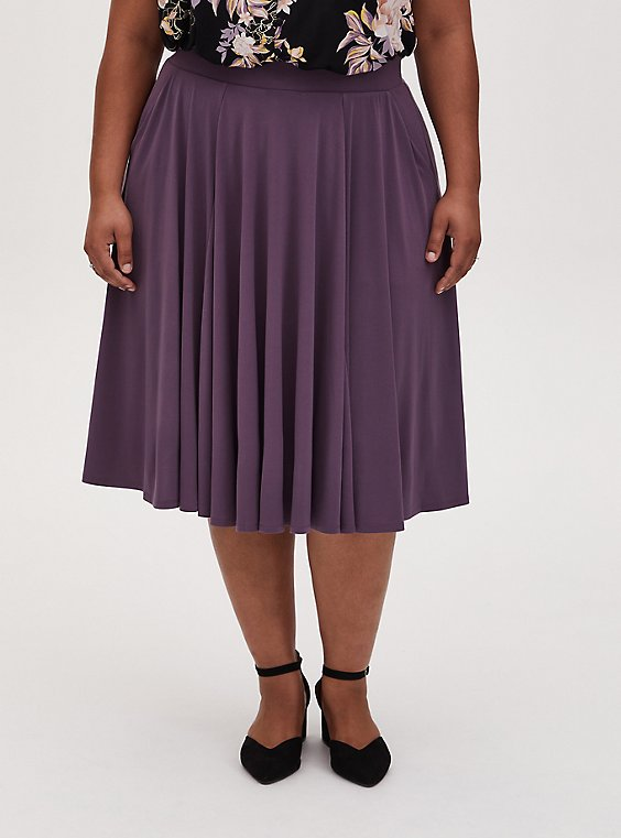 Vintage Purple Studio Knit Midi Skirt, VINTAGE VIOLET, hi-res