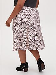 Light Yellow & Mauve Pink Leopard Satin Midi Slip Skirt, LEOPARD-WHITE, alternate