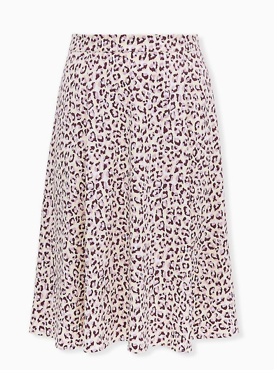 Plus Size Light Yellow & Mauve Pink Leopard Satin Midi Slip Skirt, , flat