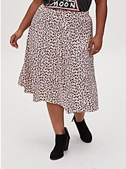 Light Yellow & Mauve Pink Leopard Satin Midi Slip Skirt, LEOPARD-WHITE, hi-res