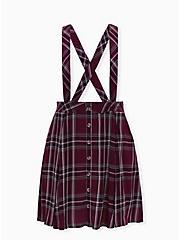 Burgundy Purple Plaid Challis Button Front Suspender Skirt, PLAID - PURPLE, hi-res