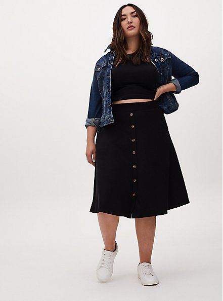 Black Rib Button Midi Skirt, DEEP BLACK, alternate