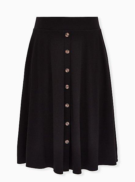 Black Rib Button Midi Skirt, DEEP BLACK, hi-res