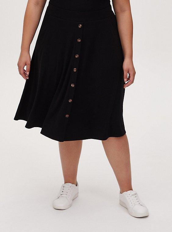 Black Rib Button Midi Skirt, , hi-res