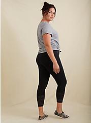 Plus Size Crop Premium Legging - Perforated Hem Black, BLACK, alternate